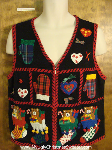 Teddy Bear Party Bad Christmas Sweater Vest