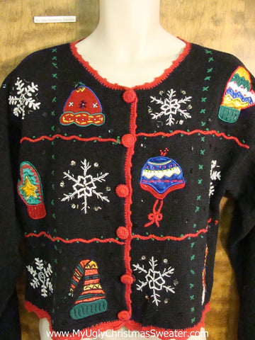 Winter Hats and Snowflakes Bad Christmas Sweater