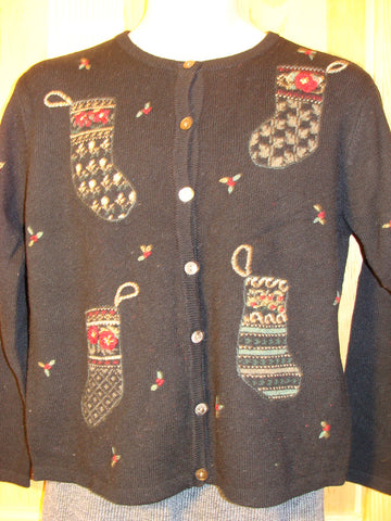 Tacky Ugly Christmas Sweater with Four Crafty Stockings (f451)