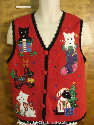 Cute Festive Dogs Christmas Sweater Vest