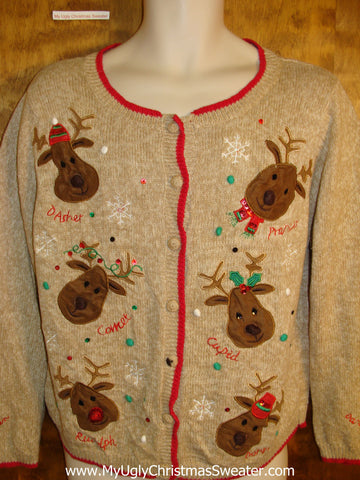 Funny Six Pack of Reindeer Christmas Sweater Vest