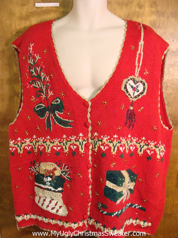 Ornate Red Bad Christmas Sweater Vest