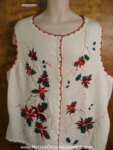 Cheap Poinsettia Themed Bad Christmas Sweater Vest