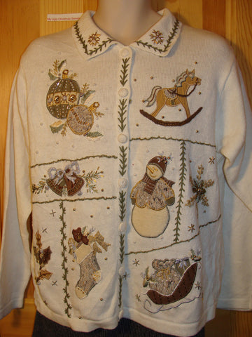 Tacky Ugly Christmas Sweater with a Rocking Horse, Snowman, Sleigh, Stocking and Bells (f452)