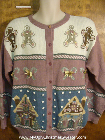 Purple Gingerbread Themed Bad Christmas Sweater