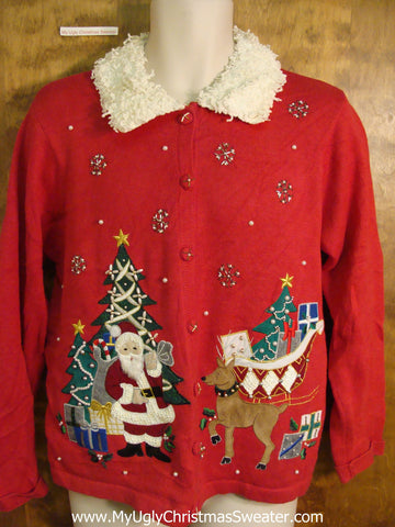 Santa, Reindeer, and Fluffy Collar Bad Christmas Sweater