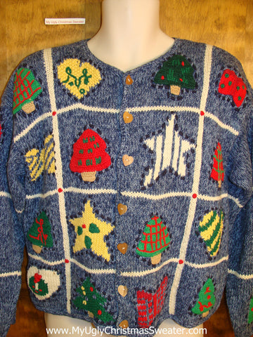 Two Sided 80s Blue Christmas Sweater