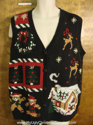 Reindeer and Bears Festive Christmas Sweater Vest