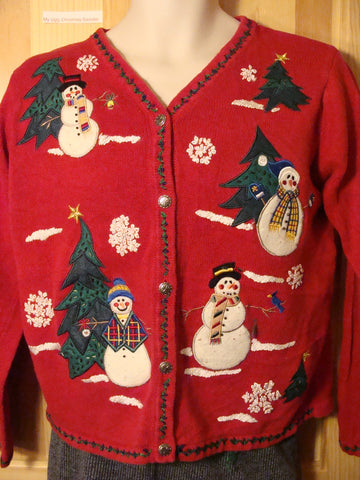 Tacky Ugly Christmas Red Sweater with Snowmen and Trees in a Winter Wonderland (f453)