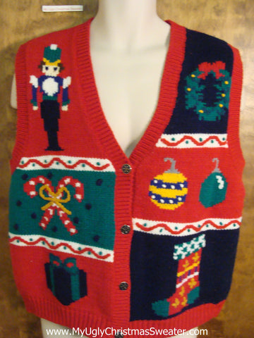 Nutcracker and Candycanes Red Christmas Sweater Vest