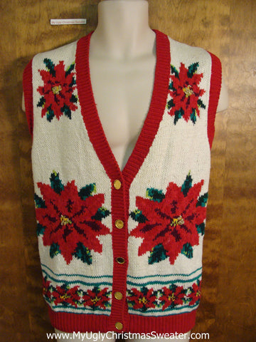 Fun Poinsettia Themed Cheap Christmas Sweater Vest