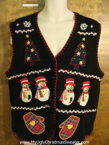 Fun Christmas Sweater Vest with Plaid Mittens