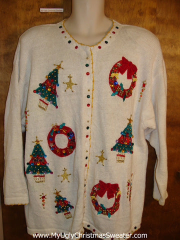 Big Size Trees and Wreaths 80s Christmas Sweater