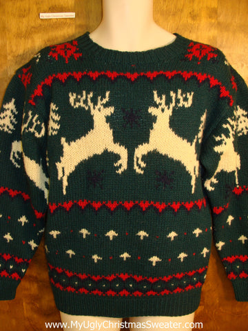 Vintage Style Leaping Reindeer Holiday Sweater