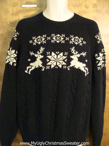 Vintage Style Leaping Reindeer Mens Christmas Sweater