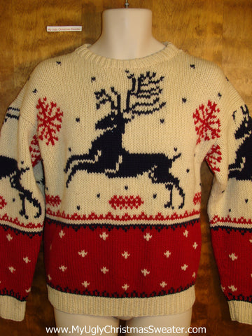 Vintage 80s Leaping Reindeer Holiday Sweater