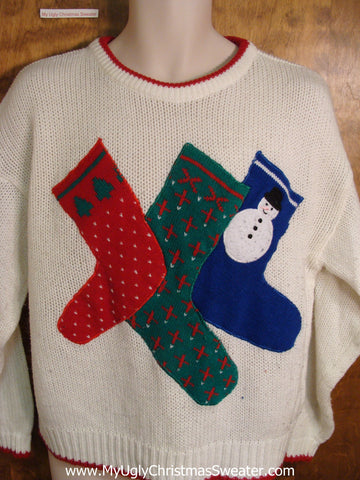 Super Cute 80s Stockings Holiday Sweater
