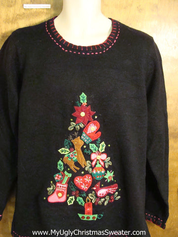 Cute Floral Tree Themed Holiday Sweater