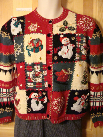 Tacky Ugly Christmas Sweater Busy Festive Jam Packed Design on Front and Sleeves (f454)