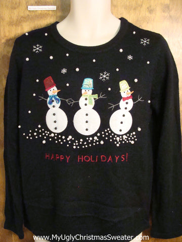 HAPPY HOLIDAYS Snowman Cute Holiday Sweater