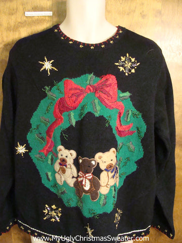 Cute Holiday Wreath with a Trio of Bears Festive Sweater