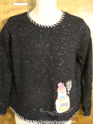 Cheap Cute Holiday Sweater with a Happy Snowman