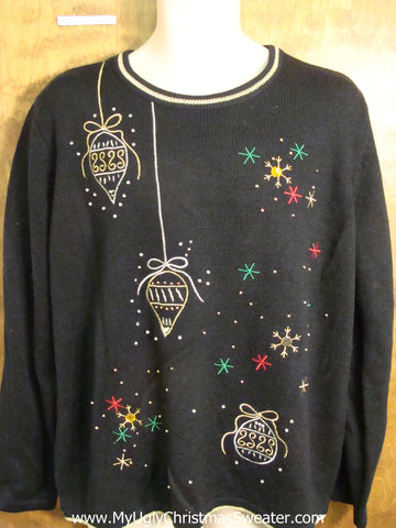 Cute Black Ornaments Themed Holiday Sweater