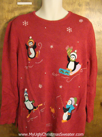 Sporty Penguins Red Cute Holiday Sweater