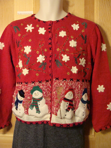 Tacky Ugly Red Christmas Sweater with Snowflakes and Snowmen (f455)