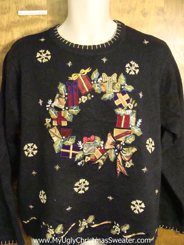Cute Holiday Sweater with Ornate Wreath