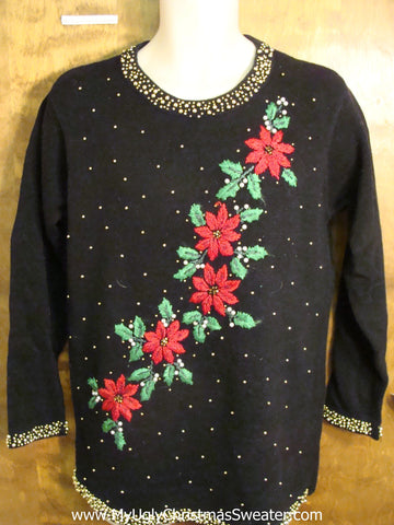 Cheap Poinsettia Themed Cute Holiday Sweater