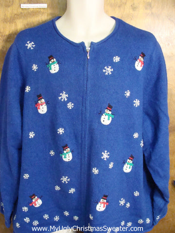 Bright Blue Cute Holiday Sweater with Floating Snowmen