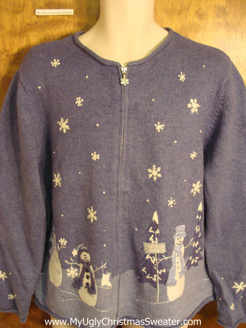 Blue 2sided Snowman and Flakes Cute Holiday Sweater