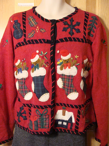 Tacky Ugly Christmas Sweater with Crafty Plaid Stockings Filled with Festive Bears  (f456)