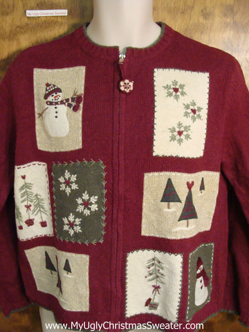 Patchwork Snowman Scenes Cute Holiday Sweater