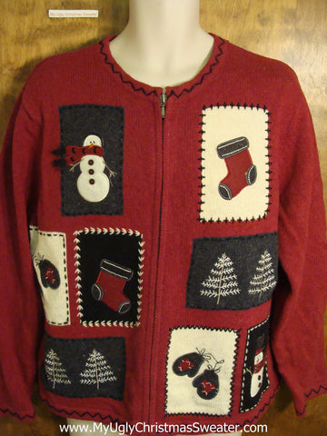 Cute Maroon Crafty Patchwork Holiday Sweater