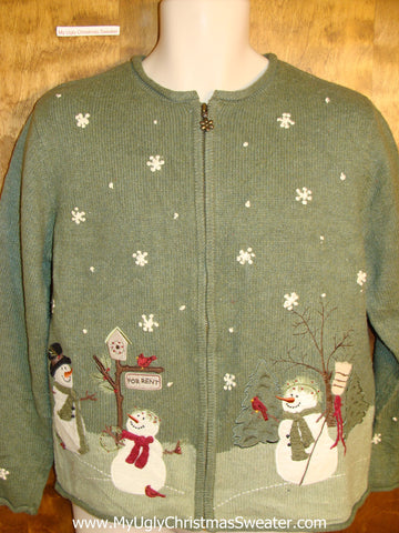 Cute Holiday Sweater with Snowmen on Front and Back