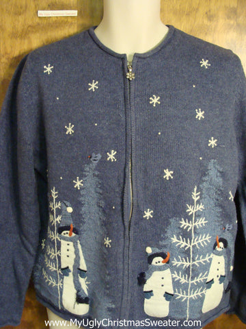 Cute Blue and White Holiday Sweater with Tall Snowmen