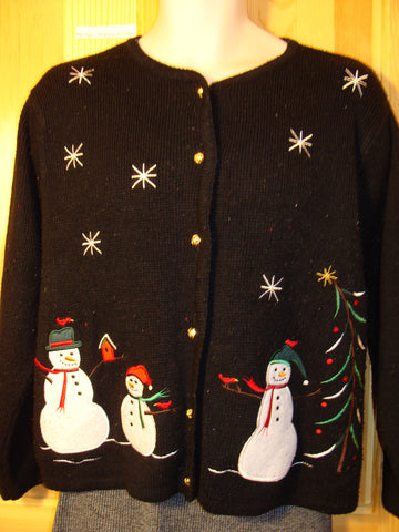 Tacky Ugly Christmas Sweater with Snowmen Friends in a Winter Wonderland (f457)