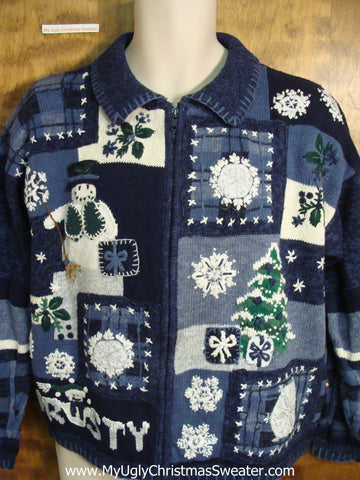 FROSTY Snowman Blue Cute Holiday Sweater