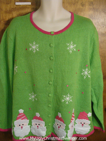 Pink and Green Horrible Fun Holiday Sweater