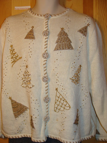 Tacky Ugly Christmas Sweater with Golden Bead Bling Trees (f458)