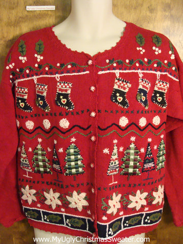 Cute Red Holiday Sweater with Stockings and Plaid Trees