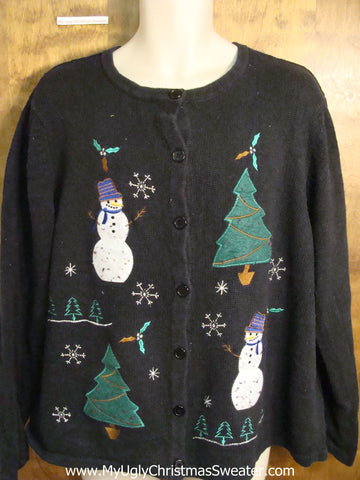 Snowmen in the Forest Cute Holiday Sweater