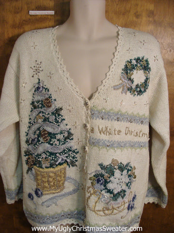 Cute 80s Holiday Sweater with Tree, Sleigh and Wreath