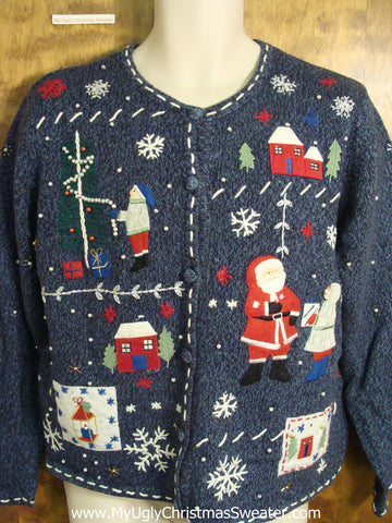 Cute Holiday Sweater with Santa and Winter Decorations