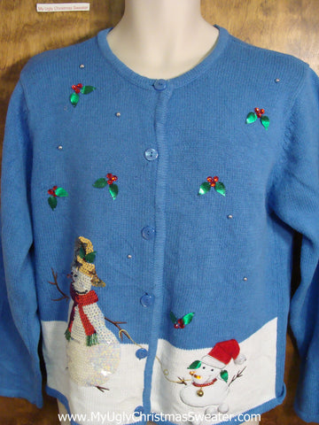 Happy Snowmen with Sequins Cute Holiday Sweater