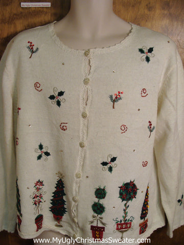 Cheap Greenery Themed Cute Holiday Sweater