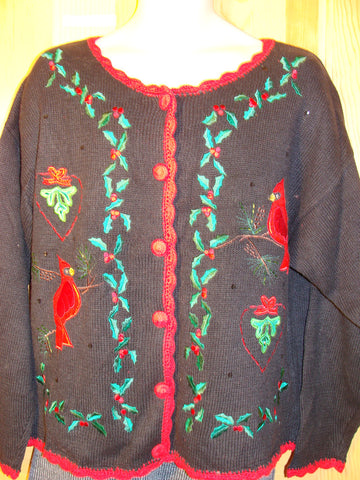 Tacky Ugly Christmas Sweater with Ivy and Red Birds (f459)