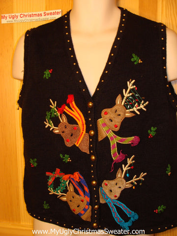 Tacky Ugly Christmas Sweater Vest with Four Peaking Reindeer with Scarfs (f45)